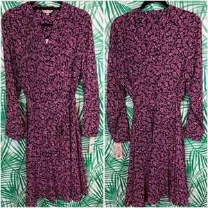 Nanette Lepore long sleeve floral shirt dress 14